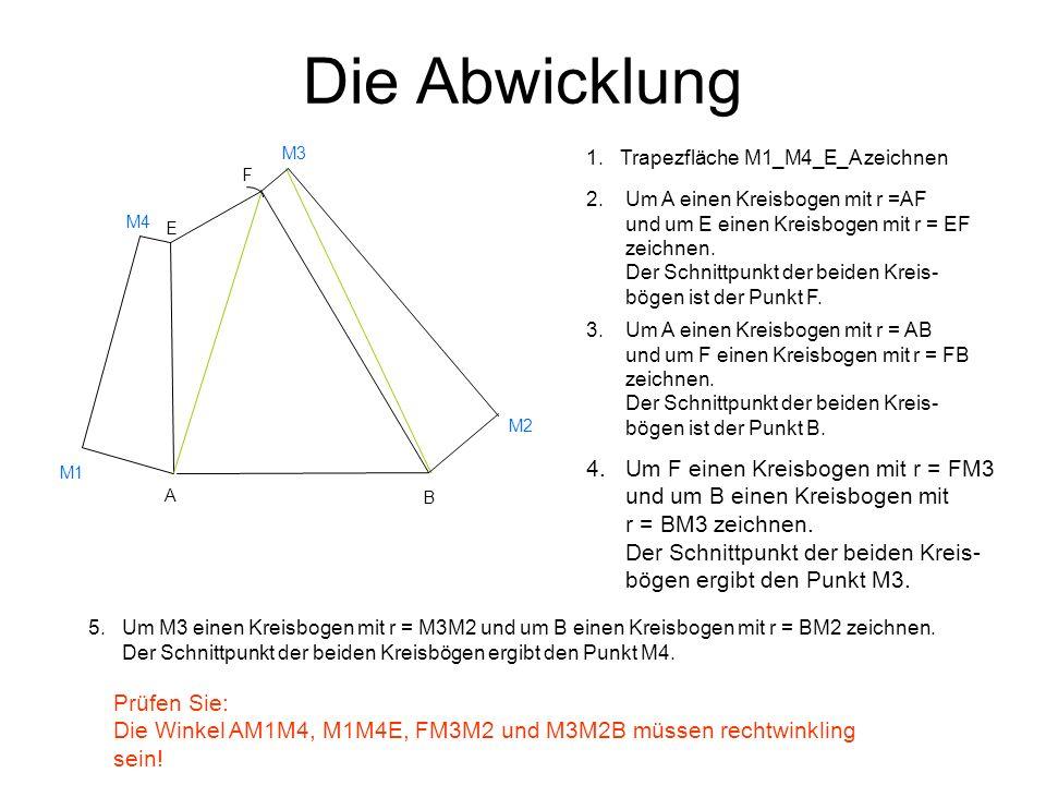Die Abwicklung 4. Um F einen Kreisbogen mit r = FM3 und um B einen Kreisbogen mit r = BM3 zeichnen. Der Schnittpunkt der beiden Kreis- bögen ergibt de
