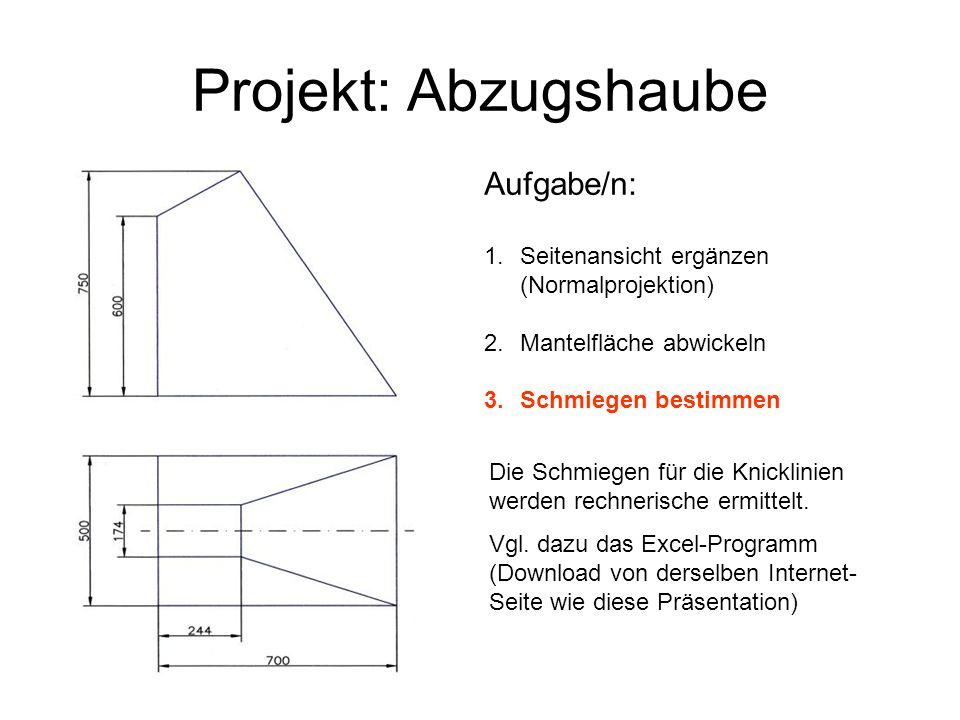 Projekt: Abzugshaube Aufgabe/n: 1.Seitenansicht ergänzen (Normalprojektion) 2.Mantelfläche abwickeln 3.Schmiegen bestimmen Die Schmiegen für die Knick