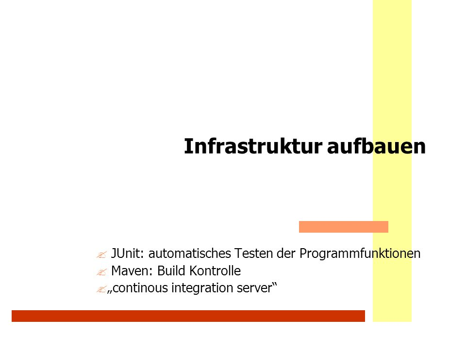 Informationsintegration & Web-Portale46 WS 2007/08 Methoden für User: UserManagerDao Ort: info.awalter.tutorial.persistence.user Interface UserManagerDao ?public List getUsers(); ?public User getUserByUsernamePassword(String username, String password); ?public boolean changePassword(int UserId, String password); ?public User updateUserData(User user); ?public User getUserByCookieId(String cookieId); ?public User getUserByUserId(int userid); ?public boolean setUserSessionId(int userid, String cookieId); ?public User createUser(User user); ?public boolean deleteUser(User user); ?public boolean isUsernameInList(String username); WS 2009/10