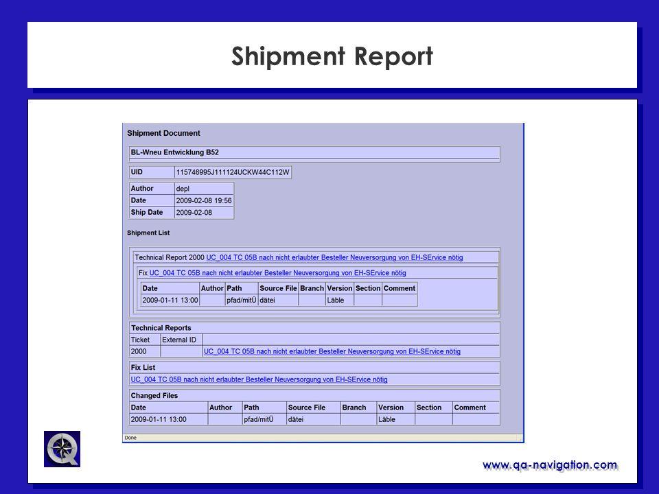 www.qa-navigation.com Shipment Report