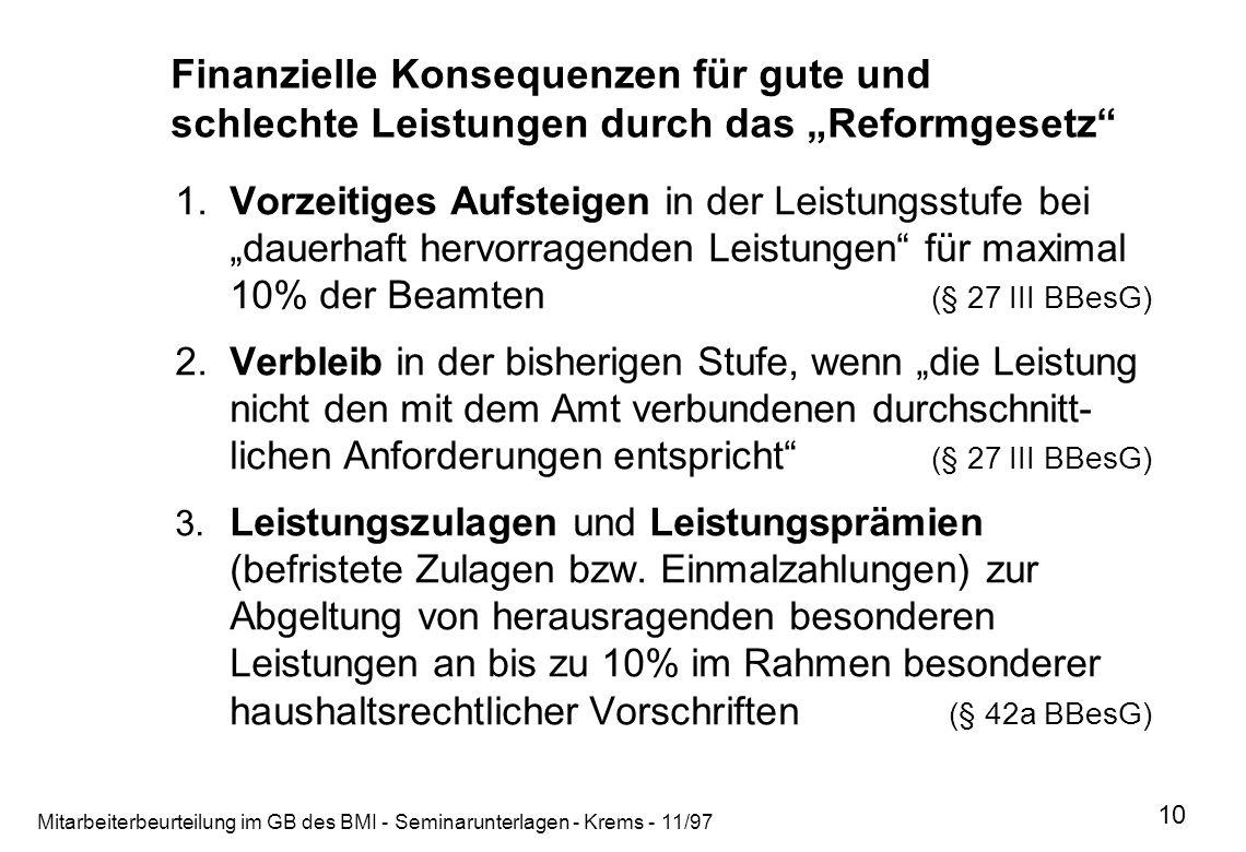 Mitarbeiterbeurteilung im GB des BMI - Seminarunterlagen - Krems - 11/97 10 Finanzielle Konsequenzen für gute und schlechte Leistungen durch das Refor