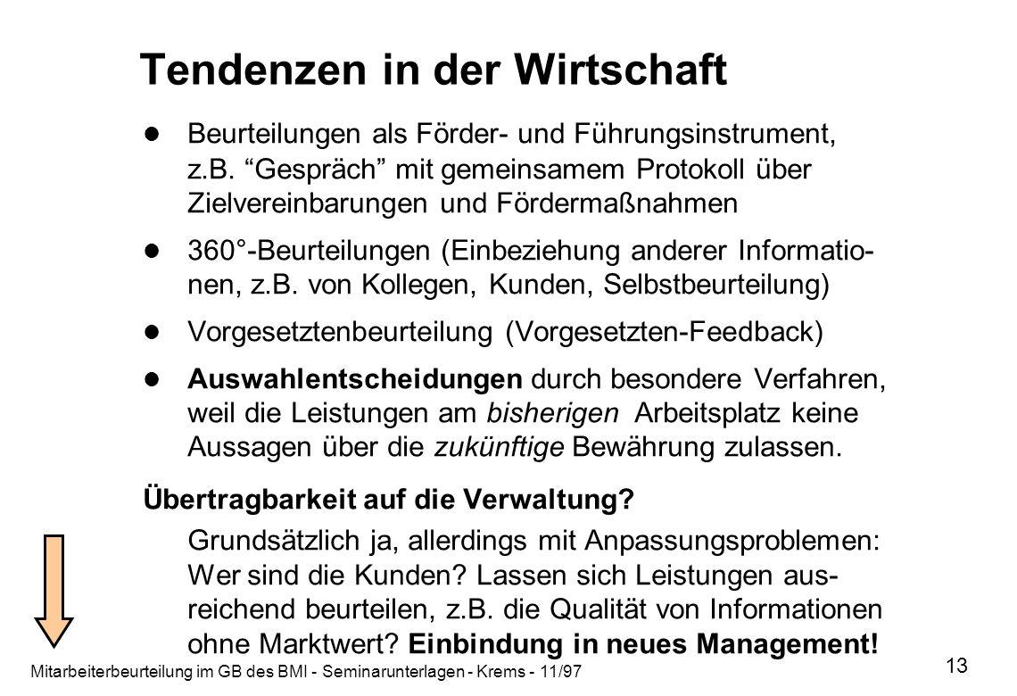 Mitarbeiterbeurteilung im GB des BMI - Seminarunterlagen - Krems - 11/97 13 Tendenzen in der Wirtschaft Beurteilungen als Förder- und Führungsinstrume