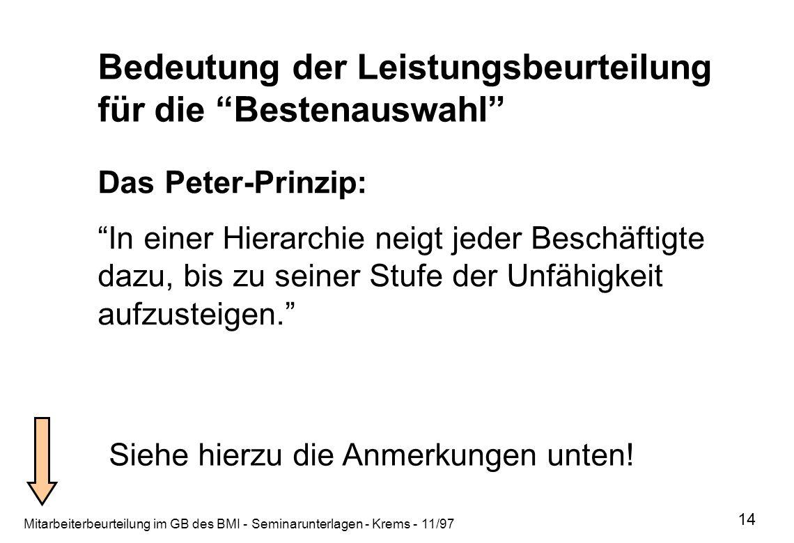 Mitarbeiterbeurteilung im GB des BMI - Seminarunterlagen - Krems - 11/97 14 Bedeutung der Leistungsbeurteilung für die Bestenauswahl Das Peter-Prinzip