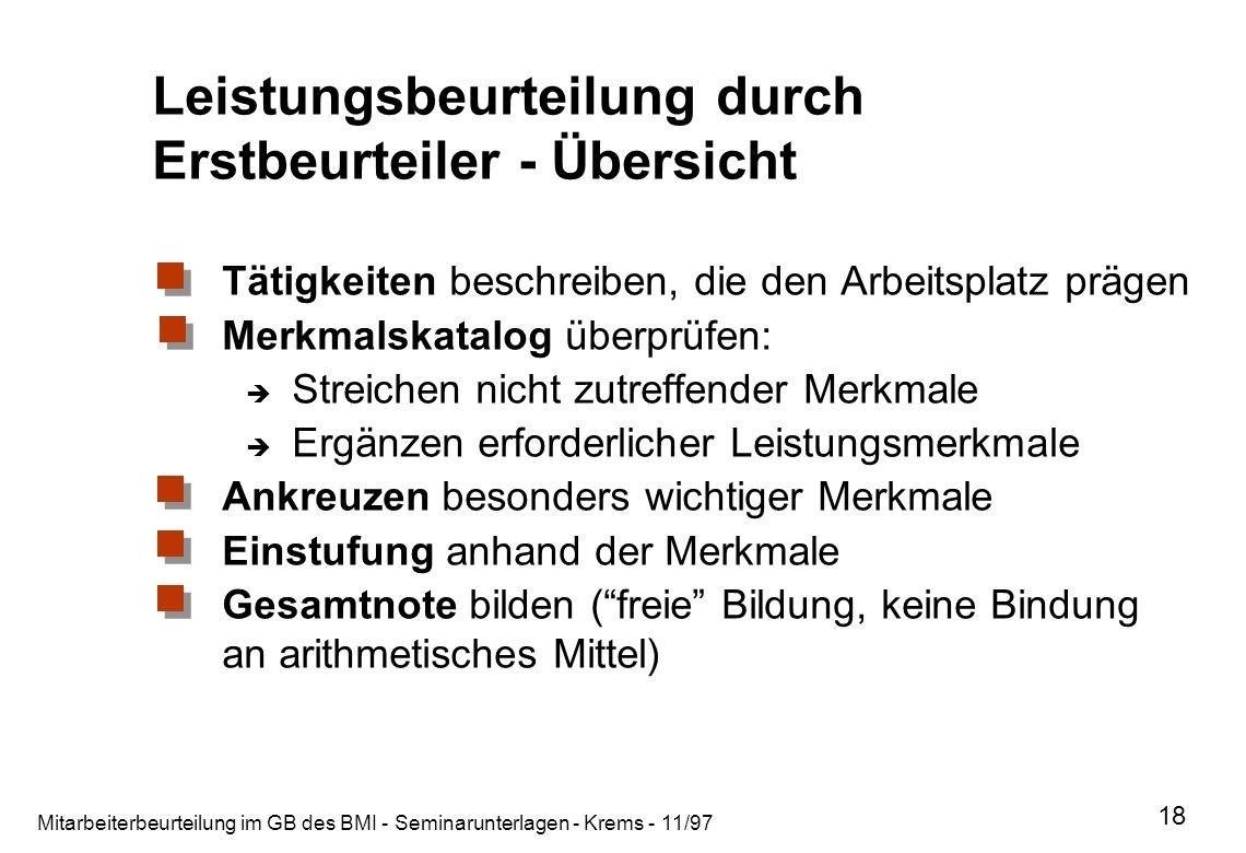 Mitarbeiterbeurteilung im GB des BMI - Seminarunterlagen - Krems - 11/97 18 Leistungsbeurteilung durch Erstbeurteiler - Übersicht Tätigkeiten beschrei