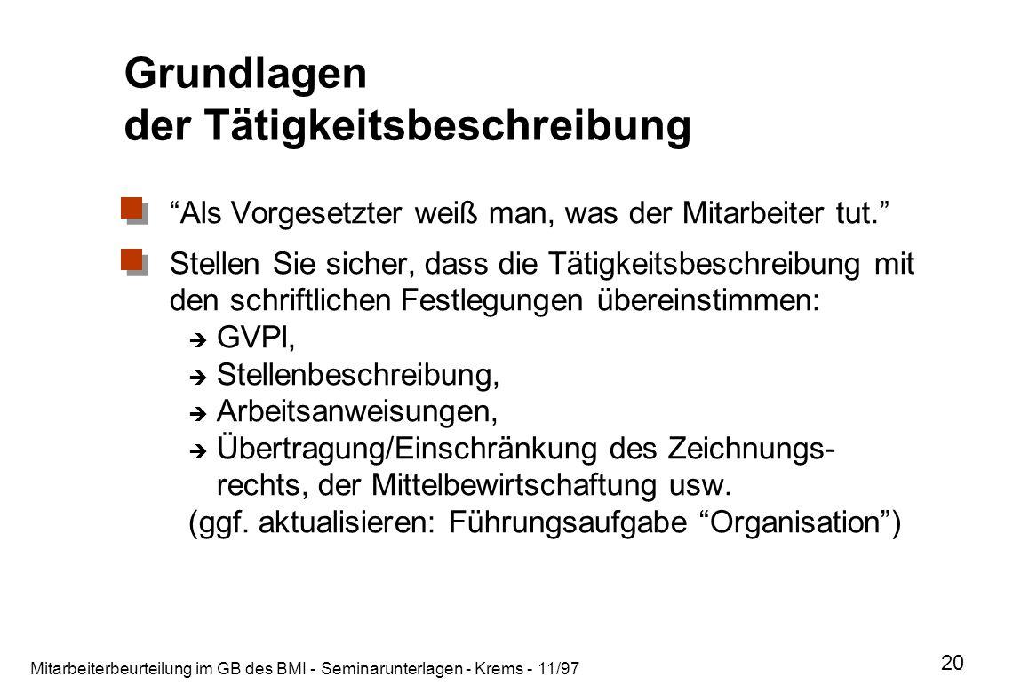 Mitarbeiterbeurteilung im GB des BMI - Seminarunterlagen - Krems - 11/97 20 Grundlagen der Tätigkeitsbeschreibung Als Vorgesetzter weiß man, was der M