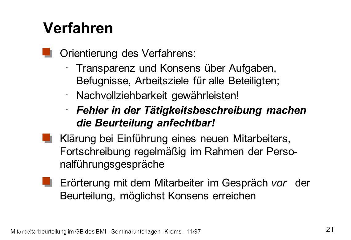 Mitarbeiterbeurteilung im GB des BMI - Seminarunterlagen - Krems - 11/97 21 Verfahren Orientierung des Verfahrens: ¨ Transparenz und Konsens über Aufg