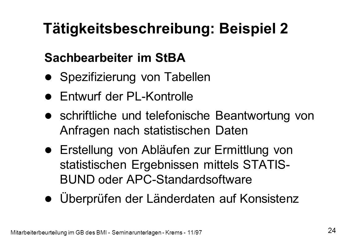 Mitarbeiterbeurteilung im GB des BMI - Seminarunterlagen - Krems - 11/97 24 Tätigkeitsbeschreibung: Beispiel 2 Sachbearbeiter im StBA Spezifizierung v