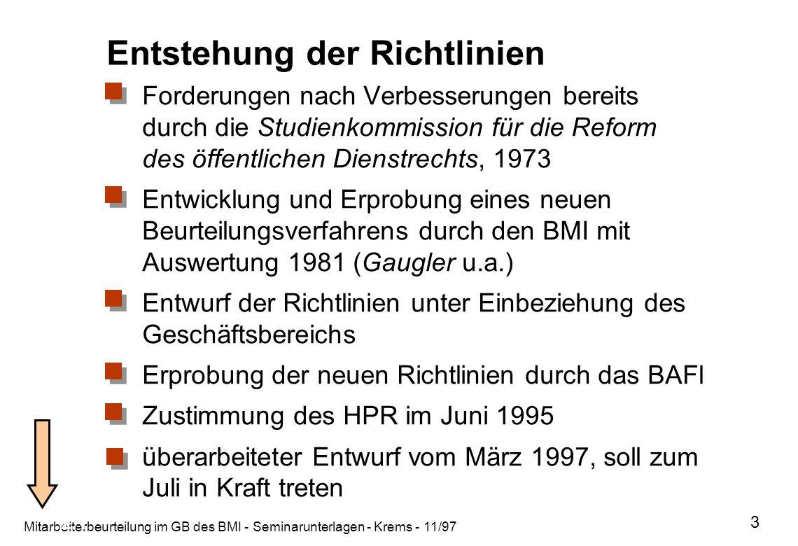 Mitarbeiterbeurteilung im GB des BMI - Seminarunterlagen - Krems - 11/97 3 2.1 Entstehung der Richtlinien Forderungen nach Verbesserungen bereits durc