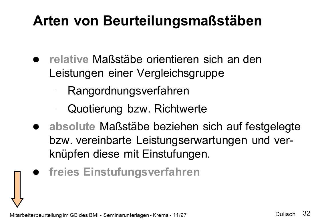 Mitarbeiterbeurteilung im GB des BMI - Seminarunterlagen - Krems - 11/97 32 Arten von Beurteilungsmaßstäben relative Maßstäbe orientieren sich an den
