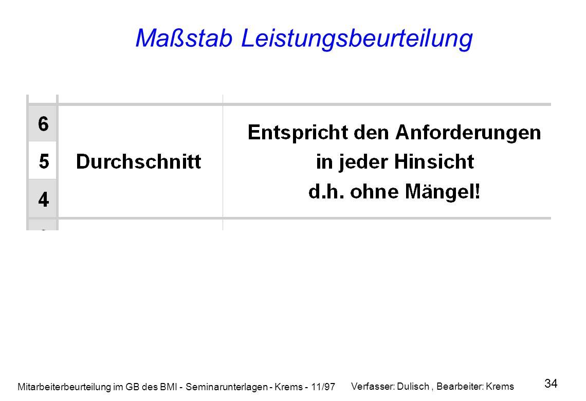 Mitarbeiterbeurteilung im GB des BMI - Seminarunterlagen - Krems - 11/97 34 Maßstab Leistungsbeurteilung Verfasser: Dulisch, Bearbeiter: Krems