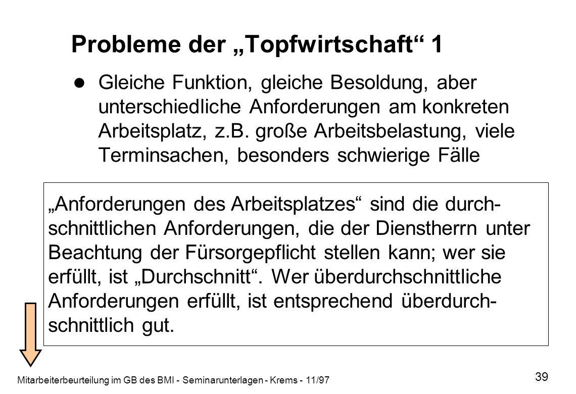 Mitarbeiterbeurteilung im GB des BMI - Seminarunterlagen - Krems - 11/97 39 Probleme der Topfwirtschaft 1 Gleiche Funktion, gleiche Besoldung, aber un