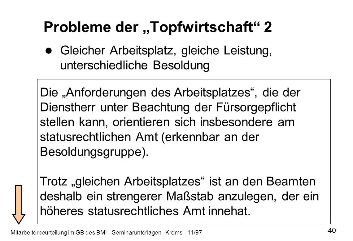 Mitarbeiterbeurteilung im GB des BMI - Seminarunterlagen - Krems - 11/97 40 Probleme der Topfwirtschaft 2 Gleicher Arbeitsplatz, gleiche Leistung, unt