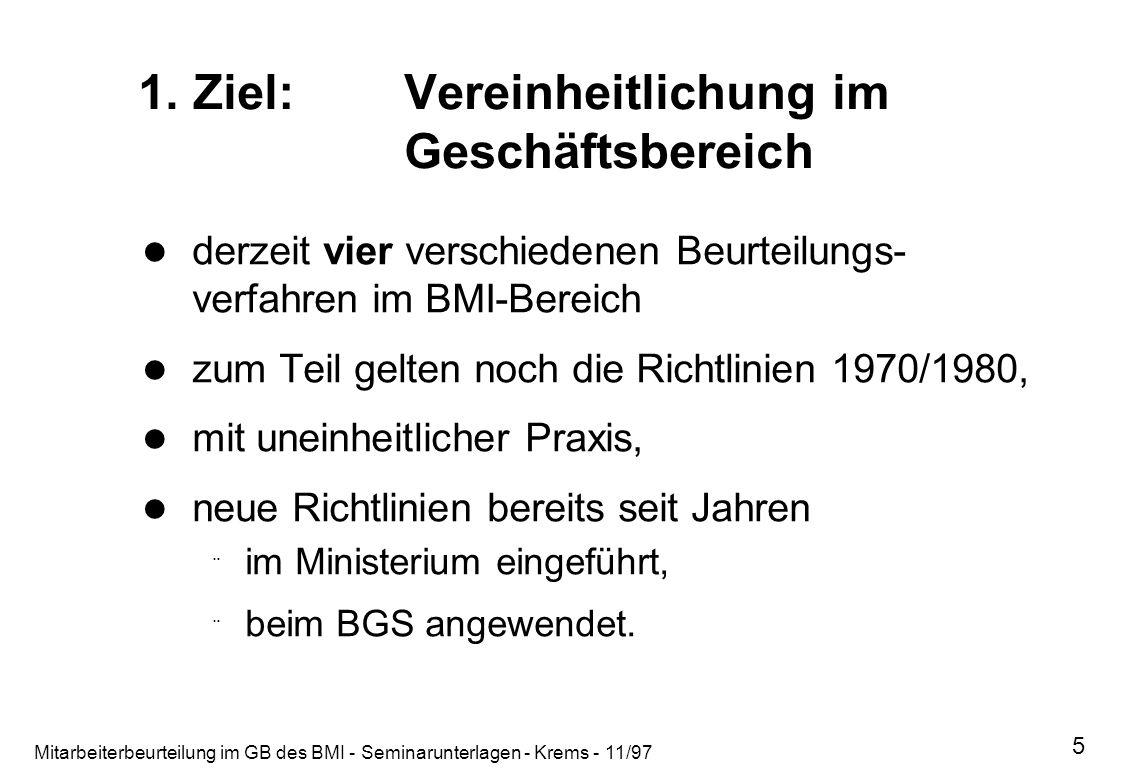 Mitarbeiterbeurteilung im GB des BMI - Seminarunterlagen - Krems - 11/97 5 1. Ziel:Vereinheitlichung im Geschäftsbereich derzeit vier verschiedenen Be