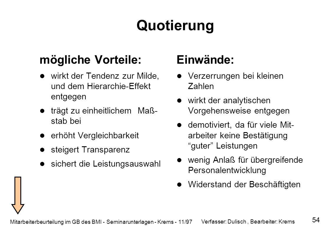 Mitarbeiterbeurteilung im GB des BMI - Seminarunterlagen - Krems - 11/97 54 Quotierung mögliche Vorteile: wirkt der Tendenz zur Milde, und dem Hierarc