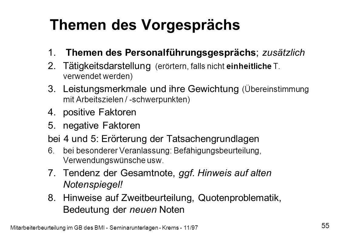 Mitarbeiterbeurteilung im GB des BMI - Seminarunterlagen - Krems - 11/97 55 Themen des Vorgesprächs 1. Themen des Personalführungsgesprächs; zusätzlic
