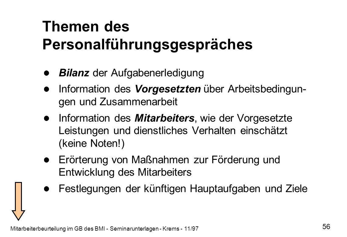 Mitarbeiterbeurteilung im GB des BMI - Seminarunterlagen - Krems - 11/97 56 Themen des Personalführungsgespräches Bilanz der Aufgabenerledigung Inform