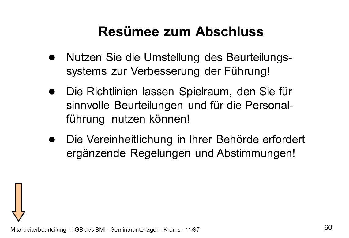 Mitarbeiterbeurteilung im GB des BMI - Seminarunterlagen - Krems - 11/97 60 Resümee zum Abschluss Verfasser: Dulisch, Bearbeiter: Krems Nutzen Sie die