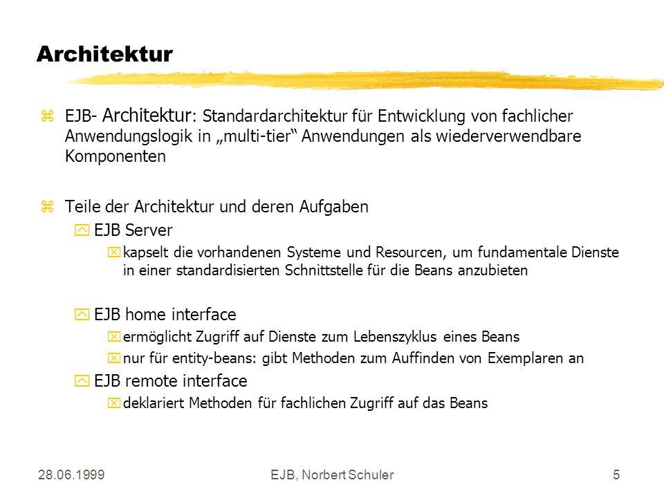 28.06.1999EJB, Norbert Schuler5 Architektur zEJB- Architektur : Standardarchitektur für Entwicklung von fachlicher Anwendungslogik in multi-tier Anwen