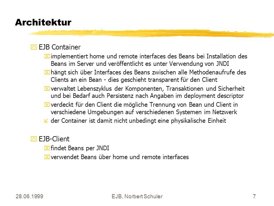 28.06.1999EJB, Norbert Schuler7 Architektur yEJB Container ximplementiert home und remote interfaces des Beans bei Installation des Beans im Server un