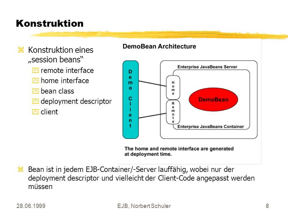 28.06.1999EJB, Norbert Schuler8 Konstruktion zKonstruktion eines session beans yremote interface yhome interface ybean class ydeployment descriptor yclient zBean ist in jedem EJB-Container/-Server lauffähig, wobei nur der deployment descriptor und vielleicht der Client-Code angepasst werden müssen