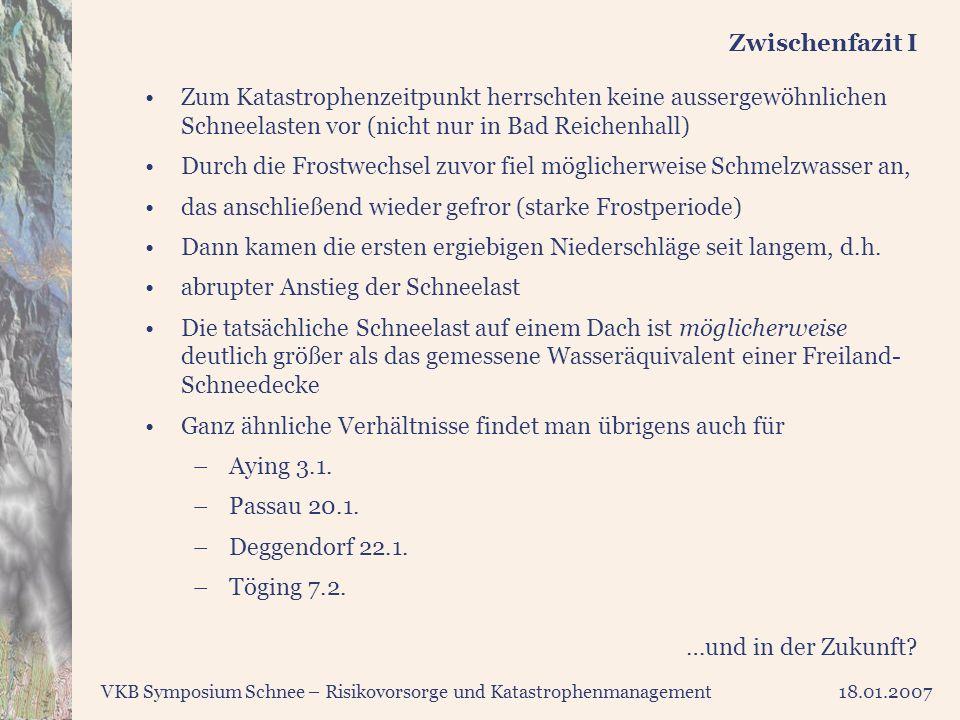VKB Symposium Schnee – Risikovorsorge und Katastrophenmanagement18.01.2007 Zwischenfazit I Zum Katastrophenzeitpunkt herrschten keine aussergewöhnlich
