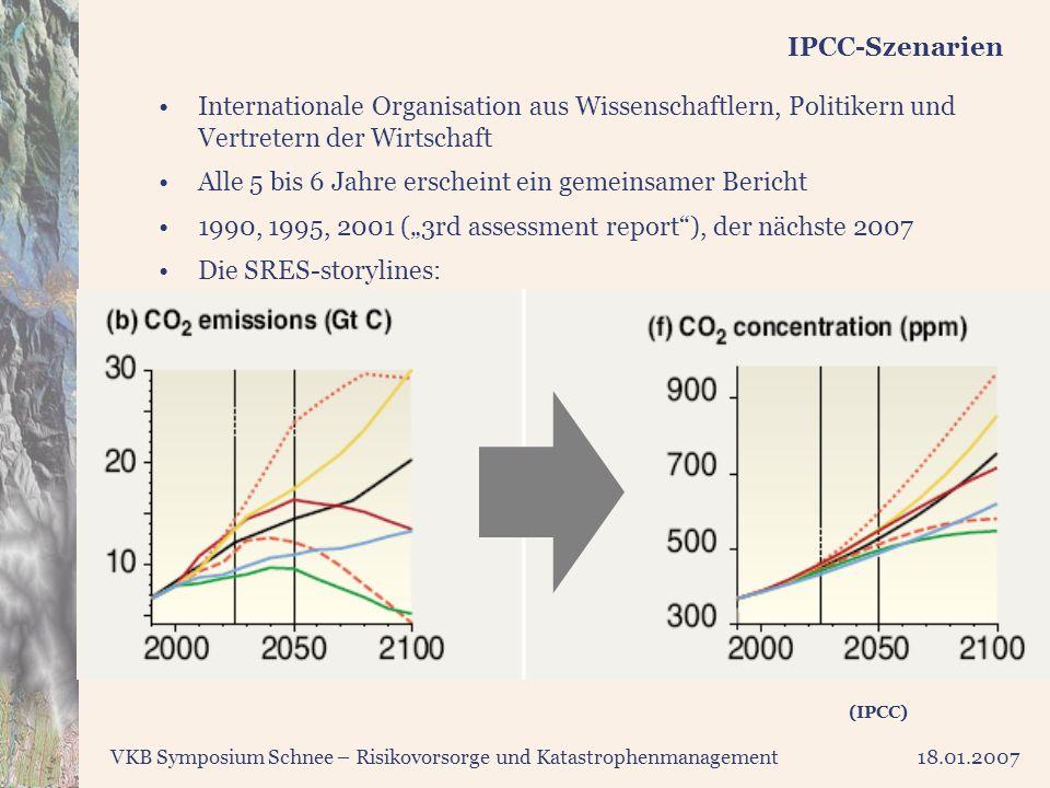 VKB Symposium Schnee – Risikovorsorge und Katastrophenmanagement18.01.2007 IPCC-Szenarien (IPCC) Internationale Organisation aus Wissenschaftlern, Pol
