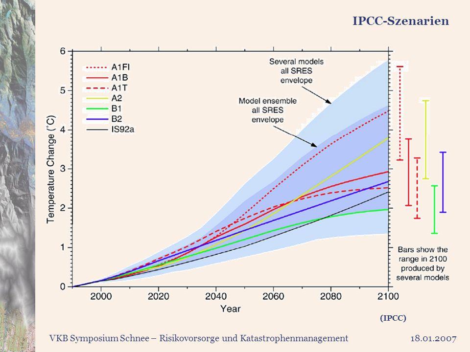 VKB Symposium Schnee – Risikovorsorge und Katastrophenmanagement18.01.2007 IPCC-Szenarien (IPCC)