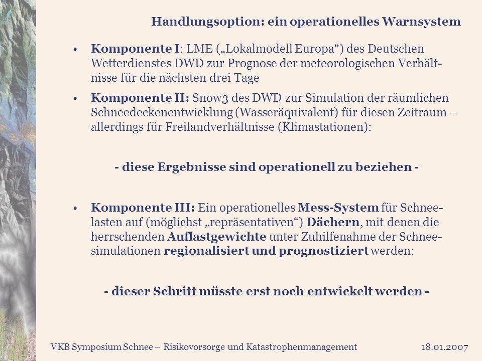 VKB Symposium Schnee – Risikovorsorge und Katastrophenmanagement18.01.2007 Handlungsoption: ein operationelles Warnsystem Komponente I: LME (Lokalmode