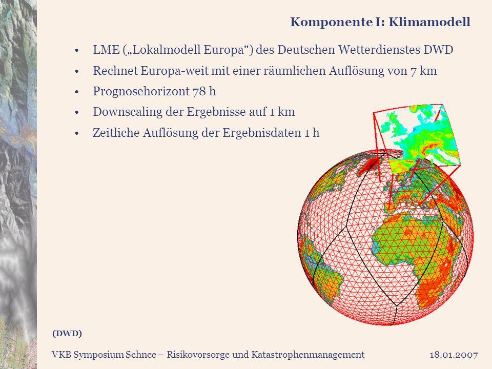 VKB Symposium Schnee – Risikovorsorge und Katastrophenmanagement18.01.2007 Komponente I: Klimamodell LME (Lokalmodell Europa) des Deutschen Wetterdien