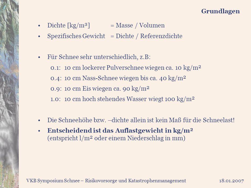VKB Symposium Schnee – Risikovorsorge und Katastrophenmanagement18.01.2007 Grundlagen Dichte [kg/m³]= Masse / Volumen Spezifisches Gewicht= Dichte / R