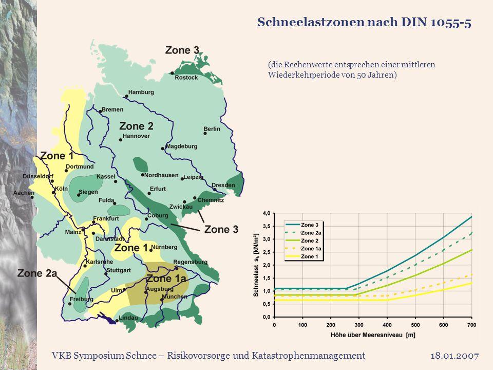 VKB Symposium Schnee – Risikovorsorge und Katastrophenmanagement18.01.2007 Schneelastzonen nach DIN 1055-5 (die Rechenwerte entsprechen einer mittlere