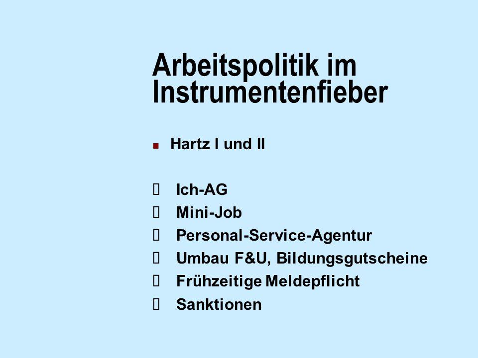 Arbeitspolitik im Instrumentenfieber Hartz I und II Ich-AG Mini-Job Personal-Service-Agentur Umbau F&U, Bildungsgutscheine Frühzeitige Meldepflicht Sa