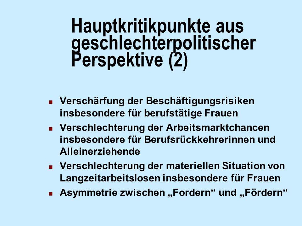 Hauptkritikpunkte aus geschlechterpolitischer Perspektive (2) Verschärfung der Beschäftigungsrisiken insbesondere für berufstätige Frauen Verschlechte