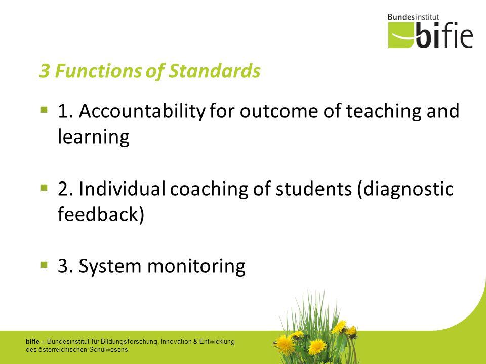 bifie – Bundesinstitut für Bildungsforschung, Innovation & Entwicklung des österreichischen Schulwesens 3 Functions of Standards 1. Accountability for