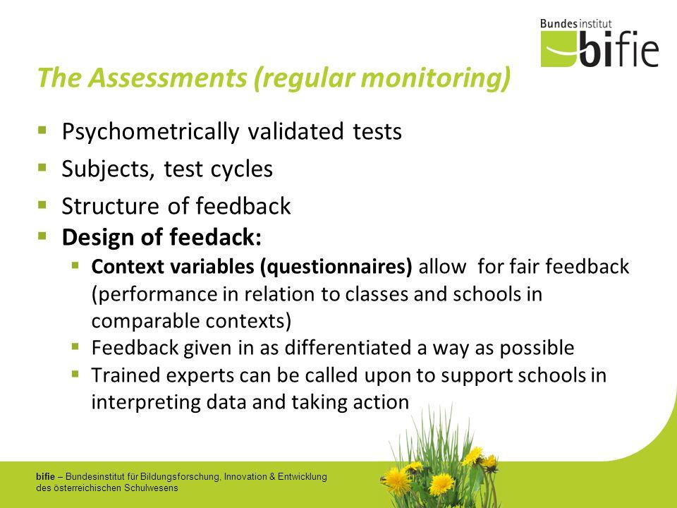 bifie – Bundesinstitut für Bildungsforschung, Innovation & Entwicklung des österreichischen Schulwesens The Assessments (regular monitoring) Psychomet