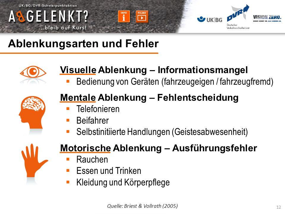 Ablenkungsarten und Fehler Quelle: Briest & Vollrath (2005) Visuelle Ablenkung – Informationsmangel Bedienung von Geräten (fahrzeugeigen / fahrzeugfre