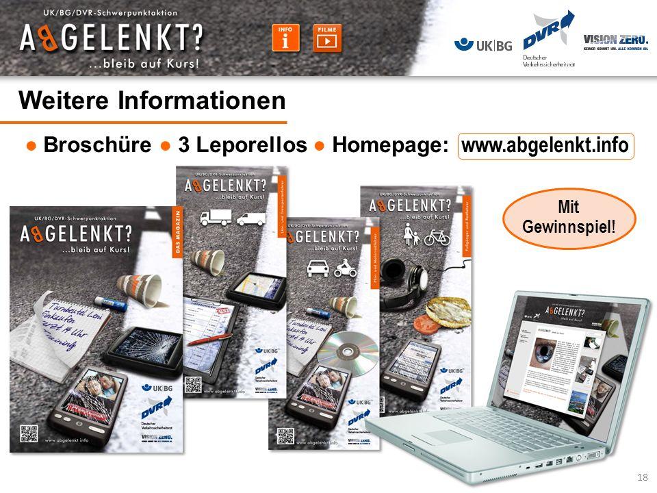 Weitere Informationen Broschüre 3 Leporellos Homepage: www.abgelenkt.info 18 Mit Gewinnspiel!