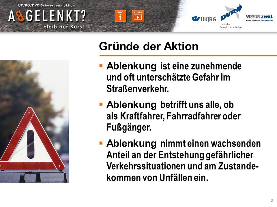 Ablenkung ist eine zunehmende und oft unterschätzte Gefahr im Straßenverkehr. Ablenkung betrifft uns alle, ob als Kraftfahrer, Fahrradfahrer oder Fußg