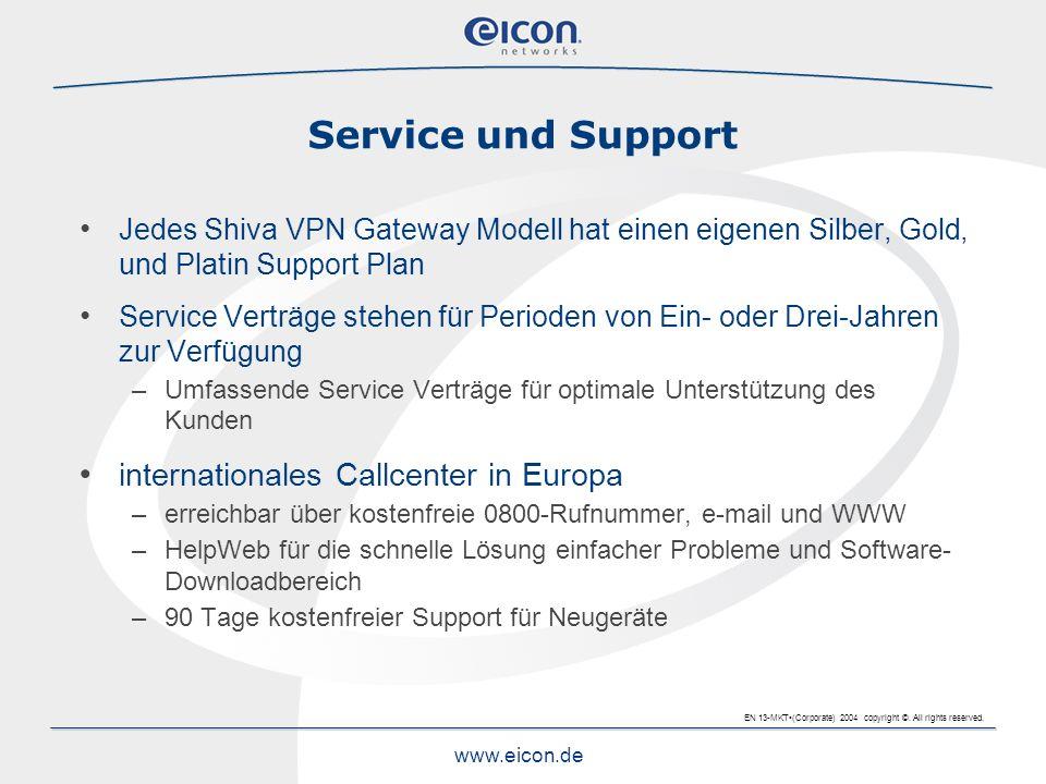 EN 13-MKT(Corporate) 2004 copyright ©. All rights reserved. www.eicon.de Service und Support Jedes Shiva VPN Gateway Modell hat einen eigenen Silber,
