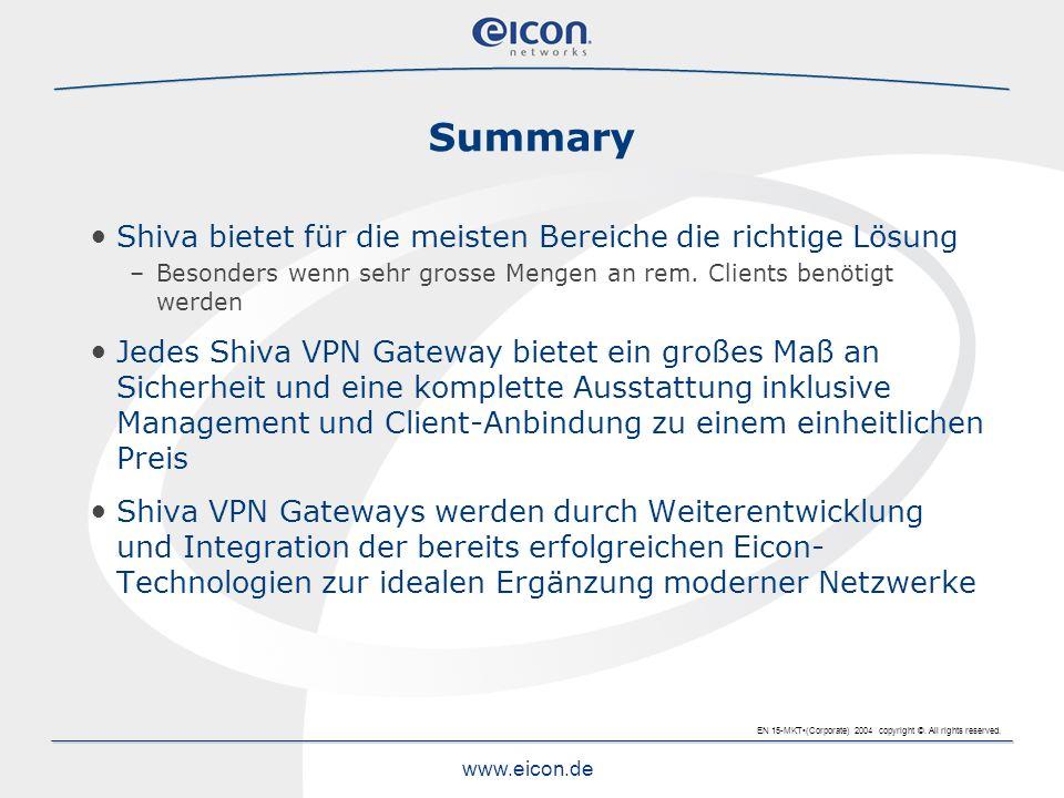 EN 15-MKT(Corporate) 2004 copyright ©. All rights reserved. www.eicon.de Shiva bietet für die meisten Bereiche die richtige Lösung –Besonders wenn seh
