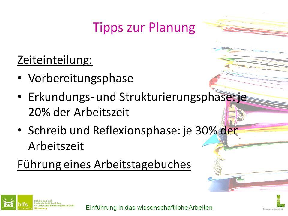 Tipps zur Planung Zeiteinteilung: Vorbereitungsphase Erkundungs- und Strukturierungsphase: je 20% der Arbeitszeit Schreib und Reflexionsphase: je 30%