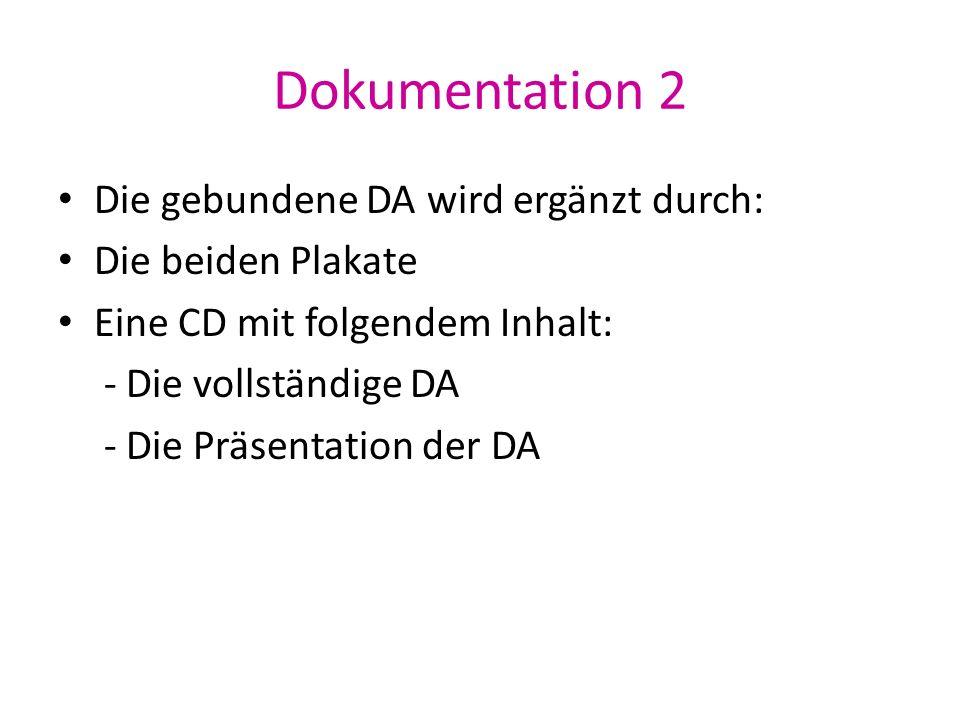 Dokumentation 2 Die gebundene DA wird ergänzt durch: Die beiden Plakate Eine CD mit folgendem Inhalt: - Die vollständige DA - Die Präsentation der DA