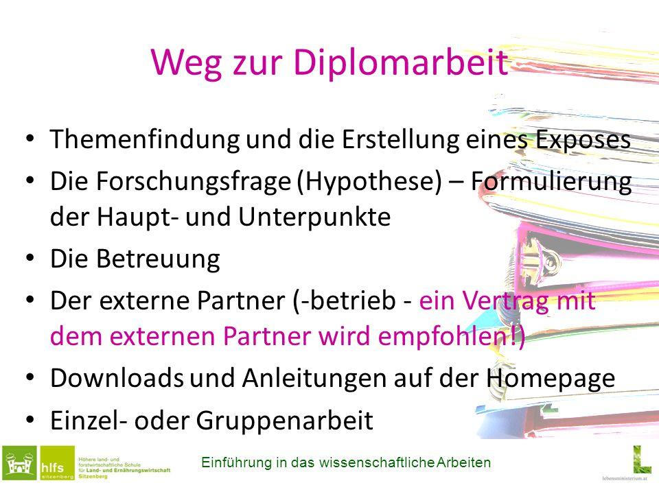 Plakate Folgende Inhalte sind verpflichtend: Thema und Hypothese Vorstellung des Partnerbetriebes Methoden, ev.