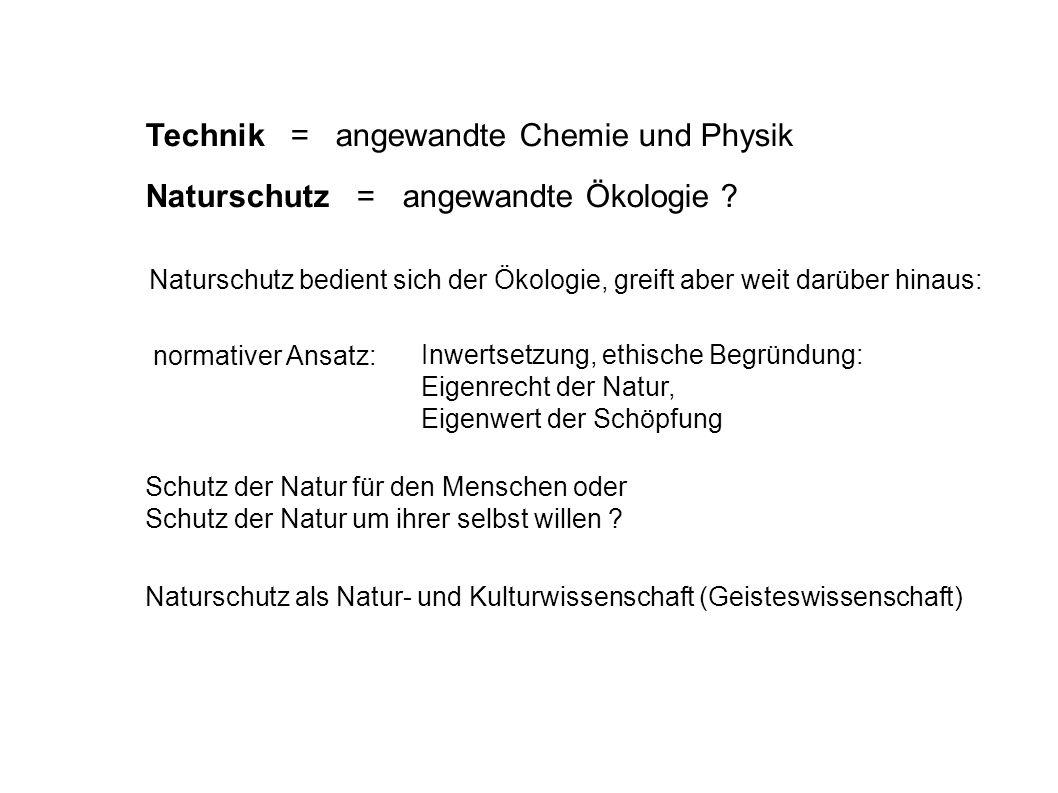 Technik = angewandte Chemie und Physik Inwertsetzung, ethische Begründung: Eigenrecht der Natur, Eigenwert der Schöpfung normativer Ansatz: Naturschut