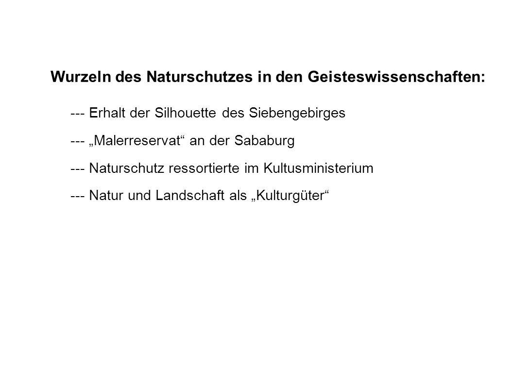 Wurzeln des Naturschutzes in den Geisteswissenschaften: --- Erhalt der Silhouette des Siebengebirges --- Malerreservat an der Sababurg --- Naturschutz