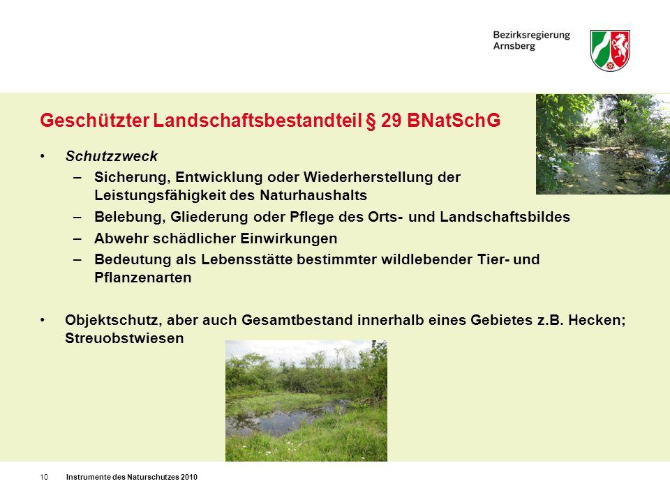 Gesetzlich geschützter Landschaftsbestandteil / Biotop Geschützt durch Regelungen im Landschaftsgesetz, auch ohne Verordnung oder Landschaftsplan: auch ohne Verordnung oder Landschaftsplan: Mit öffentlichen Mitteln geförderte Anpflanzungen im Außenbereich, außerhalb des Waldes; Wallhecken (kein Begleitgrün von Verkehrsanlagen) § 47 LG NW Alleenschutz § 47a LG NW Beschädigungs- und Beseitigungsverbot (aber bei Alleen ist Verkehrssicherheit zu beachten) Gesetzlicher Biotopschutz § 30 BNatSchG u.