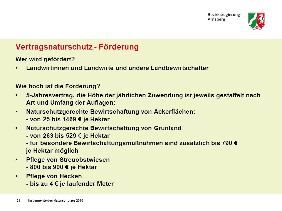 Zahlen zur Umsetzung 6,4% der Landesfläche NRW`s sind als NSG ausgewiesen 45,9% sind als LSG geschützt es gibt in NRW einen Nationalpark – Eifel, seit 2004 14 Naturparke erstrecken sich auf 34% der Landesfläche 24.000 ha landwirtschaftliche Fläche werden nach Vertragsnaturschutz- bzw.