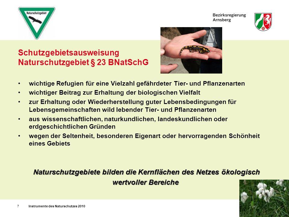Landschaftsschutzgebiet § 26 BNatSchG Instrumente des Naturschutzes 20108 zur Erhaltung, Entwicklung oder Wiederherstellung der Leistungs- und Funktionsfähigkeit des Naturhaushalts oder der Regenerationsfähigkeit und nachhaltigen Nutzungsfähigkeit der Naturgüter aufgrund der Bedeutung als Vernetzungs- und Rückzugsräume z.B.