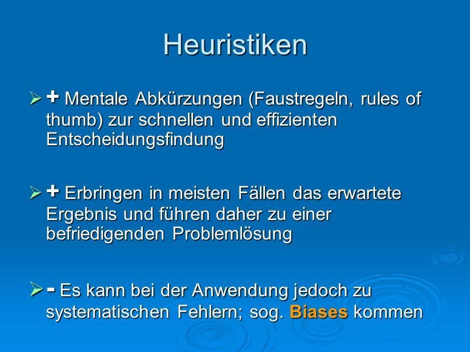 Kahnemann & Tversky 3 elementare Heuristiken VerfügbarkeitRepräsentativität Anker- und Anpassung