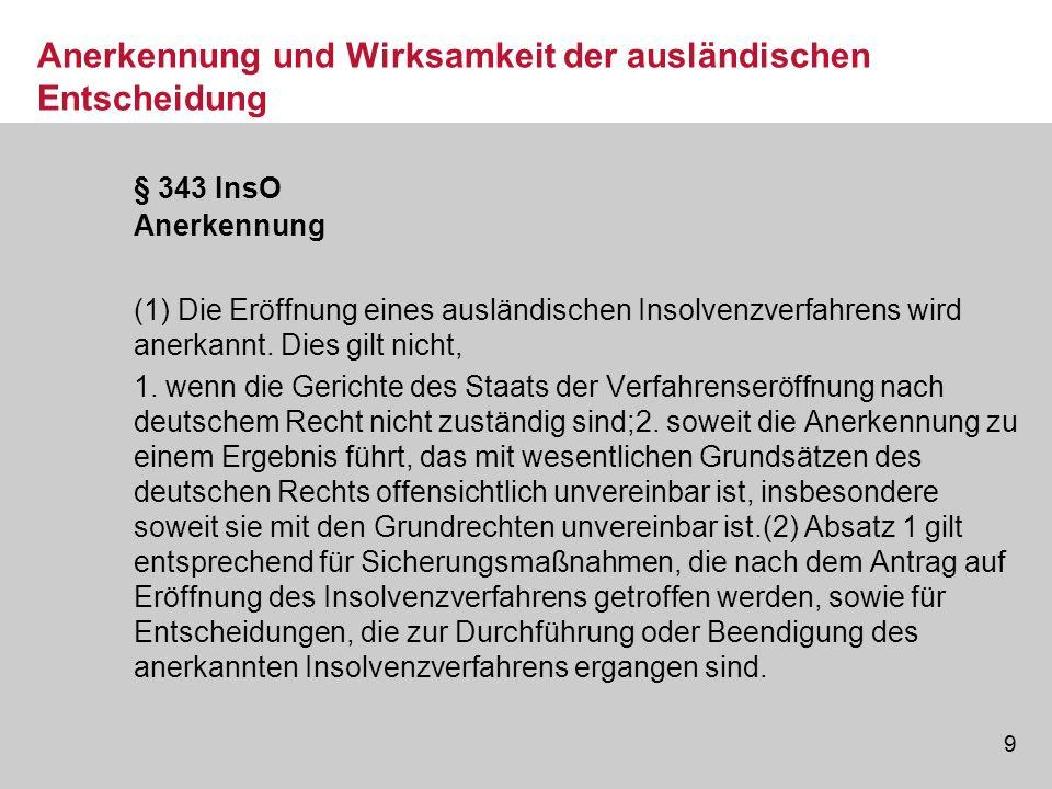 10 Restschuldbefreiung im EU-Ausland Eine ausdrückliche Regelung zur Anerkennung einer Restschuld- befreiung in einem Mitgliedstaat der Europäischen Gemeinschaft enthält die EuInsVO nicht Eine ausdrückliche Regelung zur Anerkennung einer Restschuld- befreiung in einem Mitgliedstaat der Europäischen Gemeinschaft enthält die EuInsVO nicht.